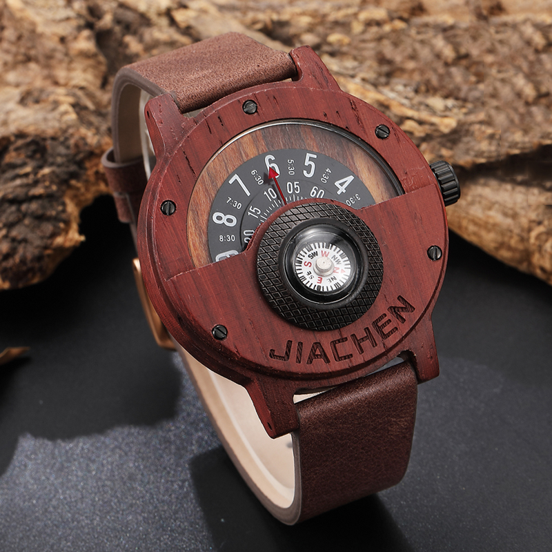 Creative New Mens Walnut Wood Watch Male Wooden Leather Real Natural Rosewood Men Wrist Watch Men's Compass Turntable Wristwatch