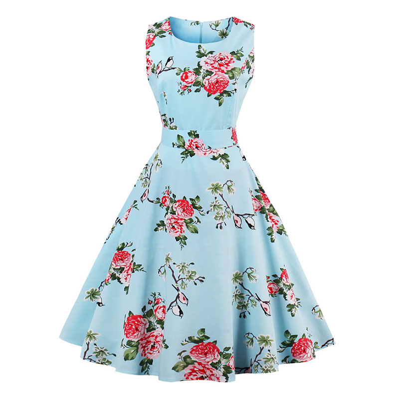 Kostlish 9 Style Print Summer Dress Women 2017 Sleeveless Swing 1950s Hepburn Vintage Tunic Dress Elegant Party Dresses Sundress (15)
