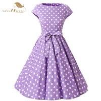 SISHION Summer Purple Dress Women 2018 Elegant Tunic Casual Retro Rockabilly Polka Dot Robe Femme Ete