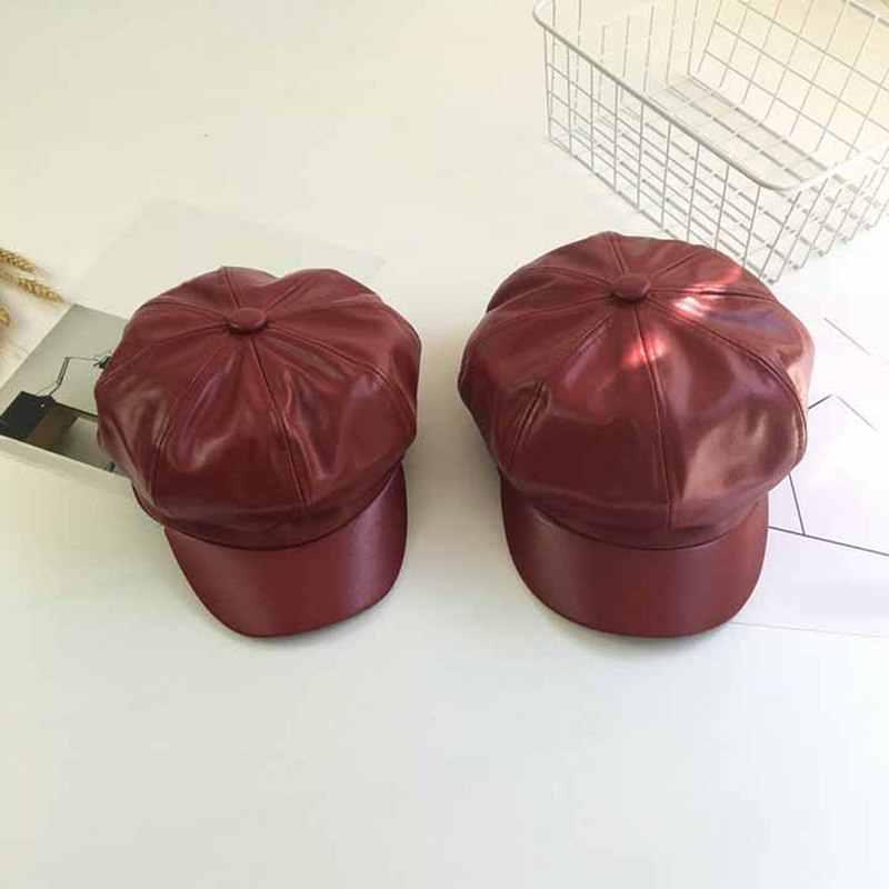 가을 겨울 새로운 패션 여성 솔리드 컬러 PU 가죽 모자 팔각형 모자 캐주얼 빈티지 모자 여성용 모자 캐주얼 모자