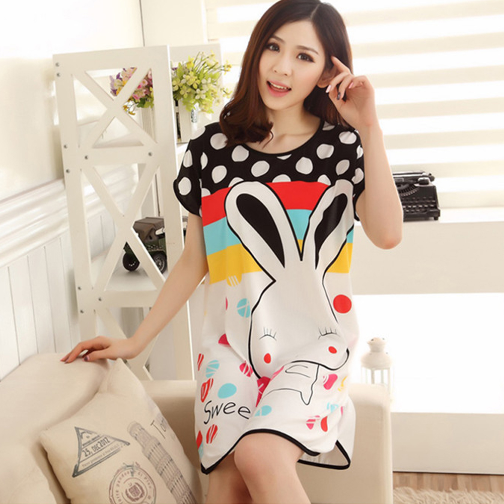 Nightgowns   for women long cartoon girls nightwear nightdress cotton polka dot Cartoon rabbit   sleepshirt   summer dress