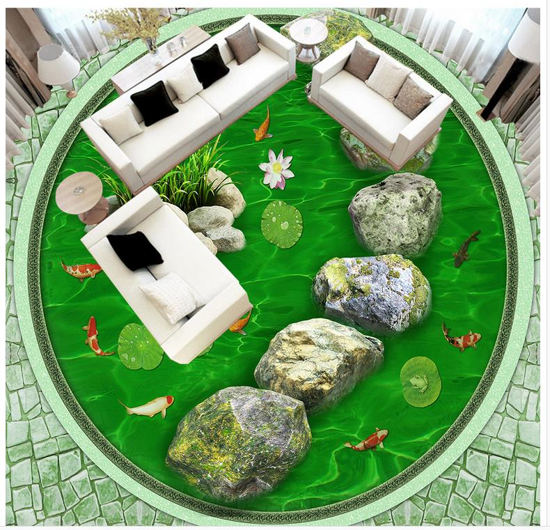 3d floor painting wallpaper Stone road Pond 3d floor waterproof wallpaper for bathroom wall 3d flooring 3d wallpaper custom 3d flooring painting wallpaper 3d crystal clear hydrostatic stone floor wall paper 3d living room decoration