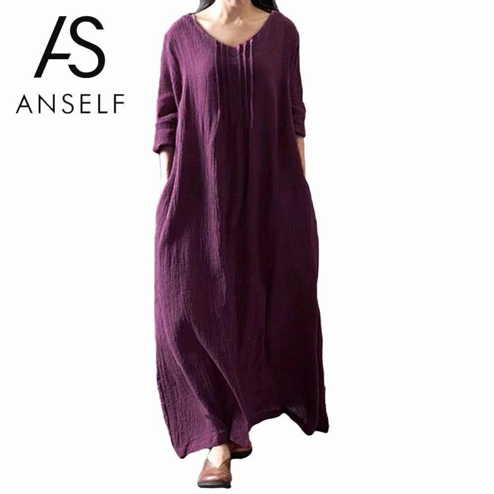 3XL 4XL 5XL размера плюс хлопковое платье с v-образным вырезом и длинным рукавом Ретро Бохо Макси платье больше размера d женское платье длинные платья женские повседневные свободные