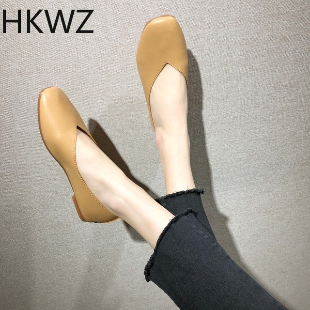 2019 spring comfortable retro shallow mouth square head flat shoes one foot slip non-slip single shoes women  zapatos de mujer