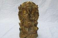 Tibet Folk bronze Copper Ganapati Ganesh Ganesha God of wealth Buddha Statue