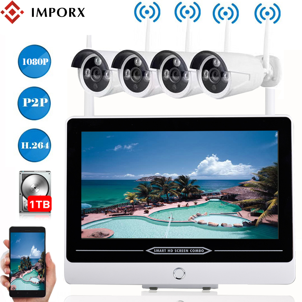 IMPORX 4CH Full HD 1080P Wireless Security Camera System 2MP Outdoor CCTV Wifi IP Camera Video Surveillance Set With 13\