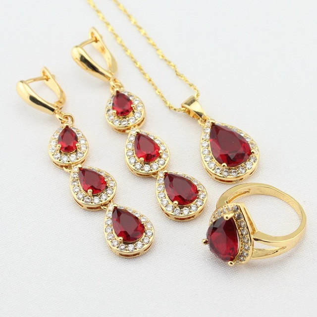 Wpaitkys Red Created Garnet Gold Color Jewelry Sets For Women Long Earrings Necklace Pendant Rings Free