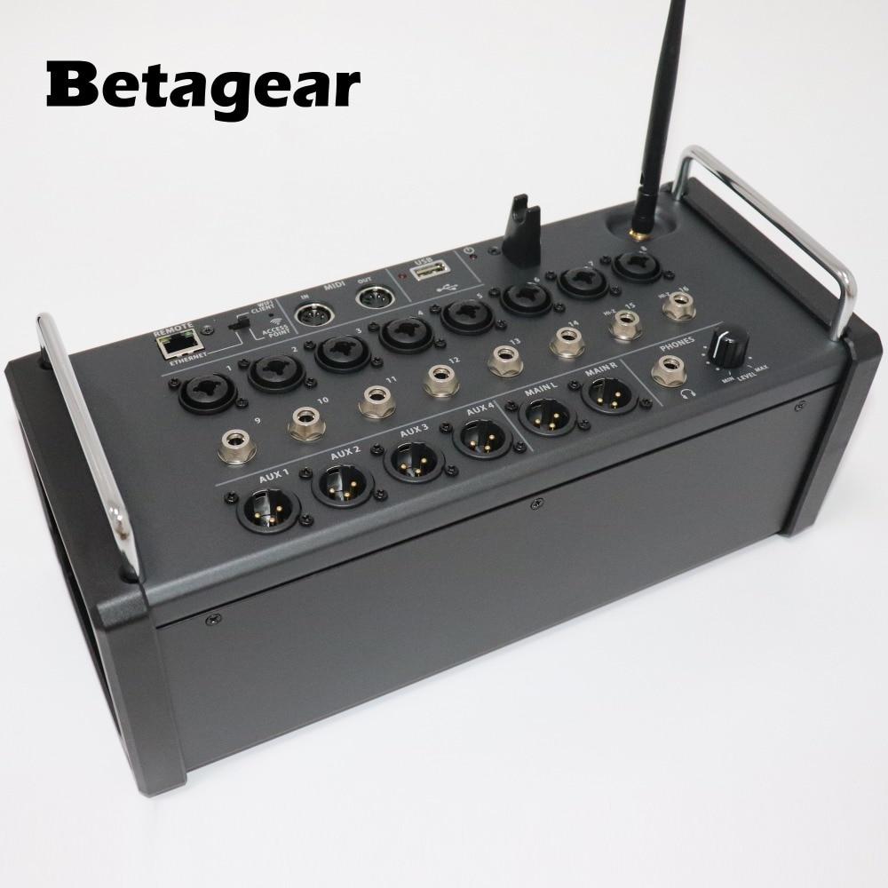 Betagear 16-канальный цифровой смеситель для Ipad/Android Планшеты 8 программируемый усилителей, встроенный модуль Wi-Fi и USB стерео Регистраторы XR16