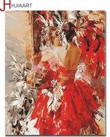 صور مؤطرة hjiaart diy رسمت باليد راقصة قماش الدهانات النفط التلوين بالأرقام الرئيسية الديكور الرقص فتاة