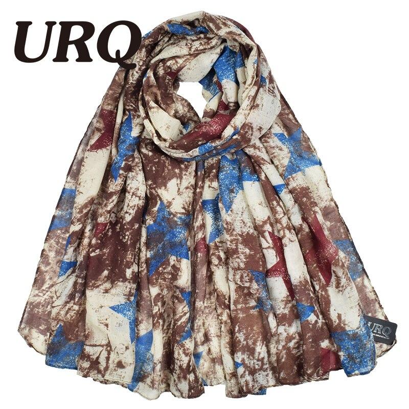 URQ Fashion New Women   Scarf   Retro Style Star Printed Long Viscose Oversize   Scarf   Spring Shawl   Wrap   Warm   Scarf   V9A18748