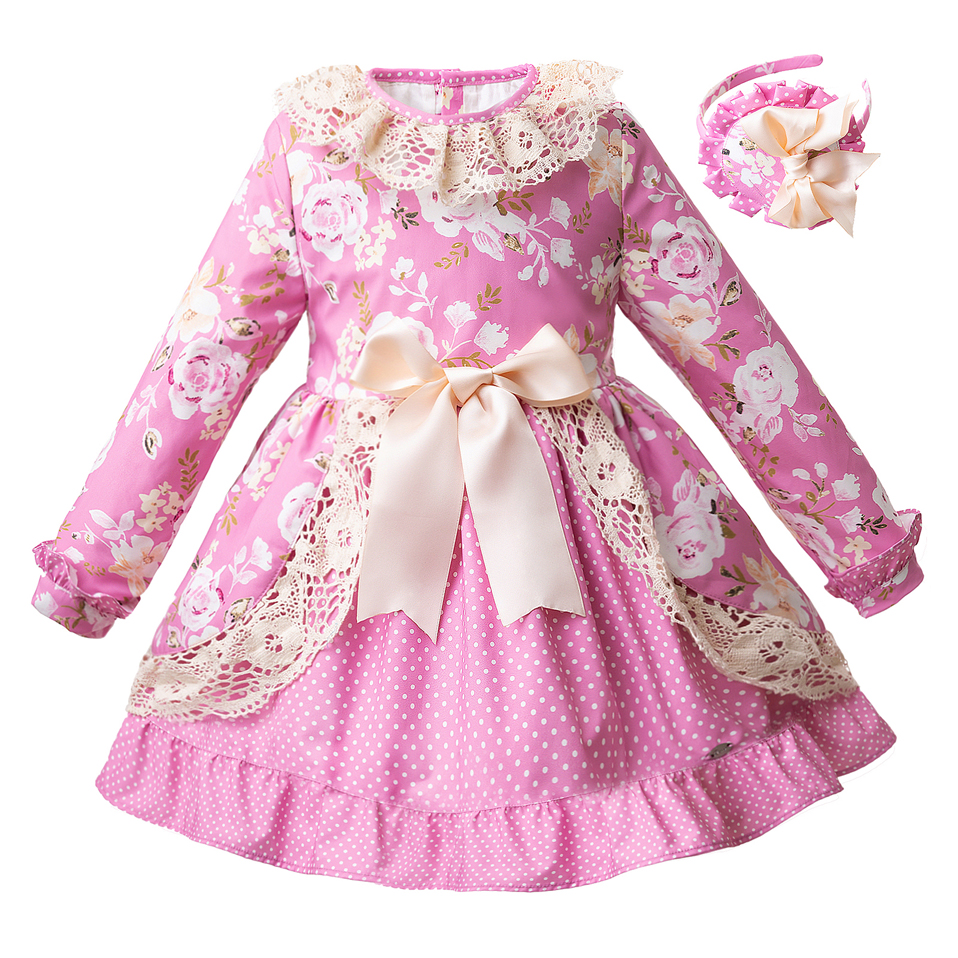 Pettigirl New Pink Floral Girls Winter Dress Flower Boutique Princess Costume Kids Clothing With Headband G