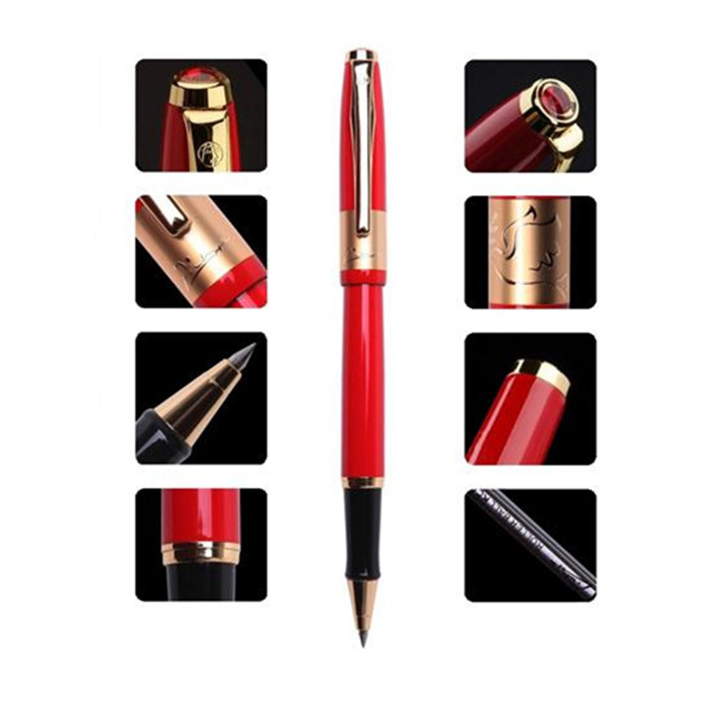 1pc/lot Picasso 923 Roller Ball Pen Red Pens Gold Clip 0.5mm Picasso Metal Writing/Office Supplies Canetas Stationery 13.9cm picasso urban fountain pen white pens silver clip picasso pen school supplies stationery