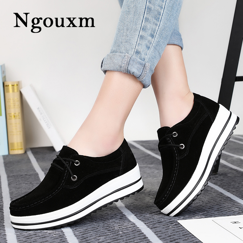 Ngouxm Autumn women flat platform shoes s thick soled suede leather female casual shoes lace up flats creepers ladies fashion