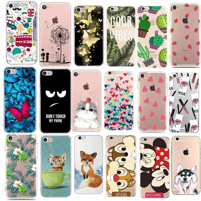 Para fundas iphone 5S 5 s se caso capa apple iphone 6 s 7 8 plus x xs bonito minnie silicone caso capa para iphone 7 capas