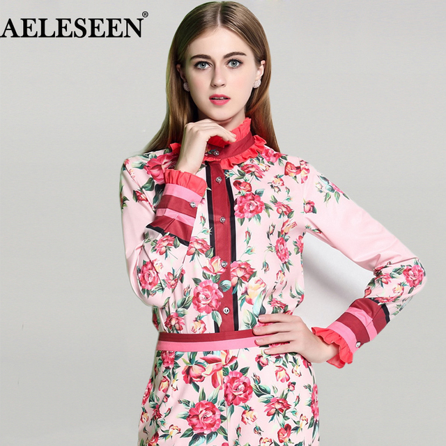 66fdd0160acd7 Fashion Full Sleeve Shirts 2019 Summer New Luxury Women Pink Sweet Shirt  Floral Printed Ruffled Collar