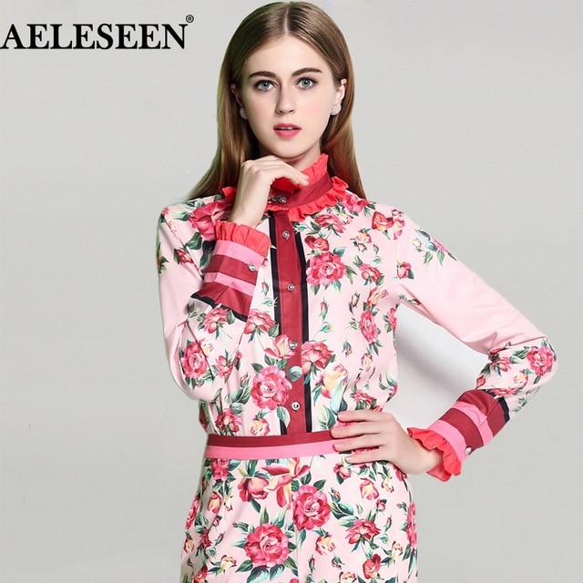 297362097408f Fashion Full Sleeve Shirts 2019 Summer New Luxury Women Pink Sweet Shirt  Floral Printed Ruffled Collar