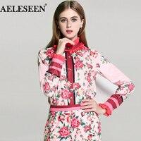 Mode Full Mouwen 2017 Zomer Nieuwe Luxe Vrouwen Roze Zoete Shirt Bloemen Gedrukt Verstoorde Kraag Vrouwen Designer Blouses