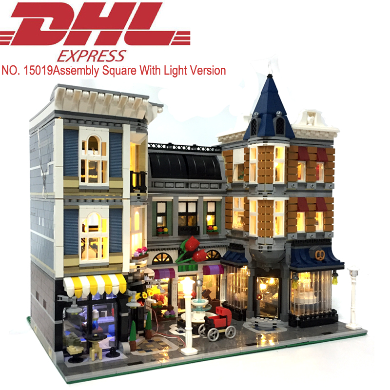 4122pcs 15019B Lepin City Assembly Square With Light Model Building Kits Blocks Bricks Compatible Toys For Children With 10255 lepin 02012 city deepwater exploration vessel 60095 building blocks policeman toys children compatible with lego gift kid sets