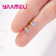 Fashion Cute Colorful Birds Sgape Stud Earrings Grest Fine Craft 925 Silver Jewelry For Women Female Top Street Beat Accessories