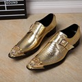 Luxury brand italian leather formal snake skin shoes man slip on gray gold metal dress weddind shoes loafers