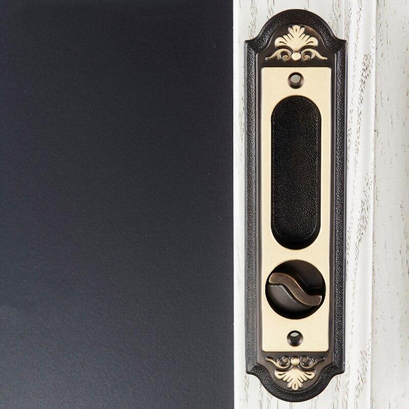 Black/Golden Neoclassicall Brass Door Lock European Style for Bathroom/kitchen/Balcony Sliding Door Lock with Keys-in Door Locks from Home Improvement    1