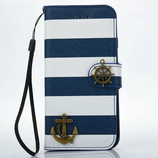 Faddish Navy Stripes Leather Cover Case for iphone 5s/6 6s plus/7 plus Pirate Anchor Flip Wallet Phone Bag Card Slot Lanyard