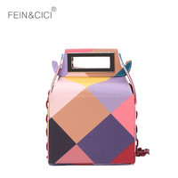 vintage box bag Acrylic chains plaid party Clutch totes handbag women 2018 new canvas crossbodys bag high quality candy color