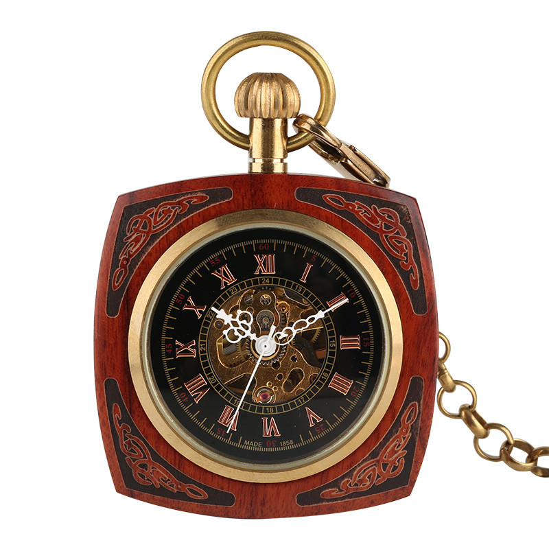 Top Luxury Square Mechanical Hand Winding Royal Red Bamboo Wood Pocket Watch Retro Antique Gifts For Men Women + 30cm Gold Chain