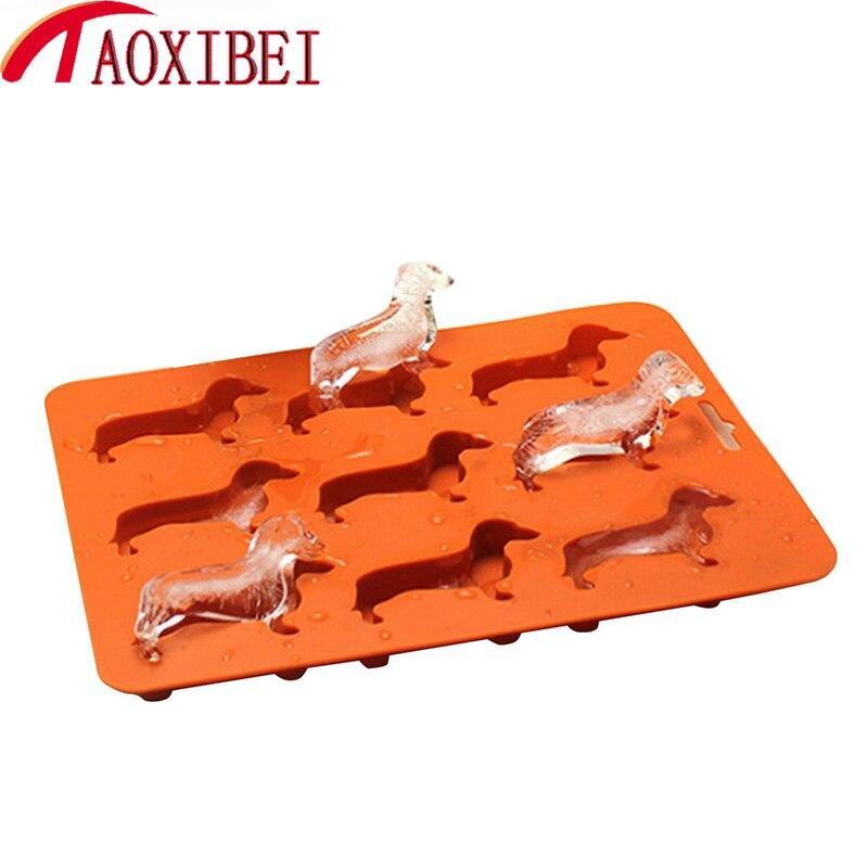 TAOXIBEI Kreative Silikon Form Dackel Welpen Shaped Ice Cube Schokolade Cookie Form DIY Hause Eis Tablett Küche Werkzeuge