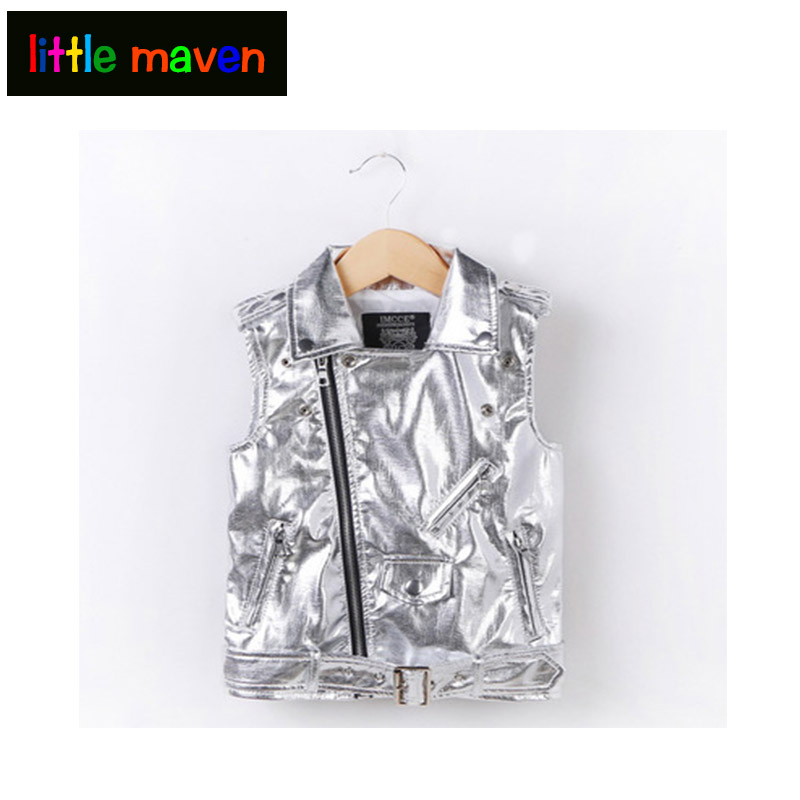 2018 Autumn Baby Girls Boys PU Vest Zipper Turndown Collar Fashion Silver/Black/Red Windbreaker Clothes for boy girl WaistCoat