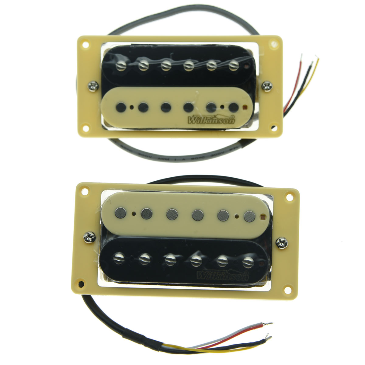 KAISH Set of 2 Wilkinson Lic Zebra Humbucker Pickups with Cream Pickup Frame High Quality kaish black p90 high power sound neck