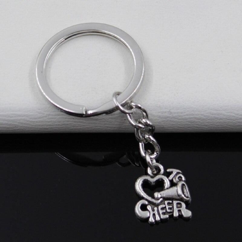 99Cents Keychain 1716mm Cheer Love Cheerleading Pendants DIY Men Jewelry Car Key Chain Ring Holder Souvenir For Gift