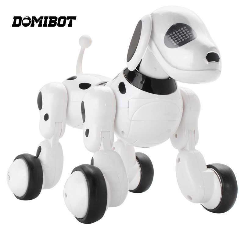 Venda quente domibot controle remoto sem fio robô inteligente cão cantar dança andando falando diálogo brinquedos educativos presente para crianças