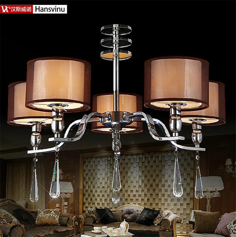 New Arrival UseX5pcs E14 LED Candle Bulb Modern Chrome Crystal Lights Crystal Chandeliers Pendant Lamp Living Lobby Lighting