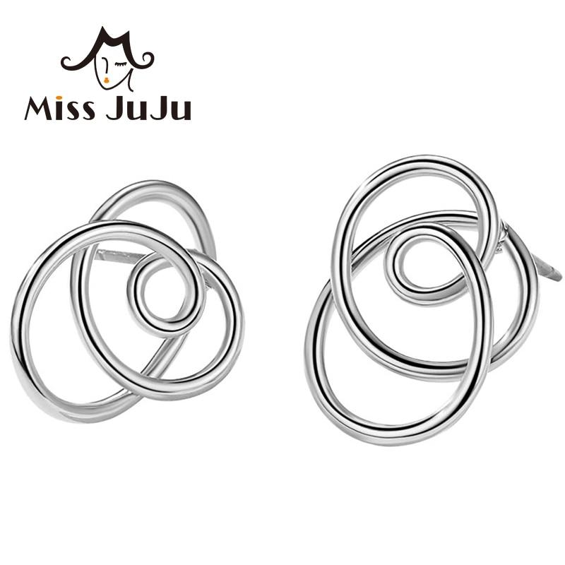 Miss JuJu Fashion 925 Sterling Silver Earrings for Women Irregular Gold Stud Earrings Carnations Earings Fashion Jewelry M3012