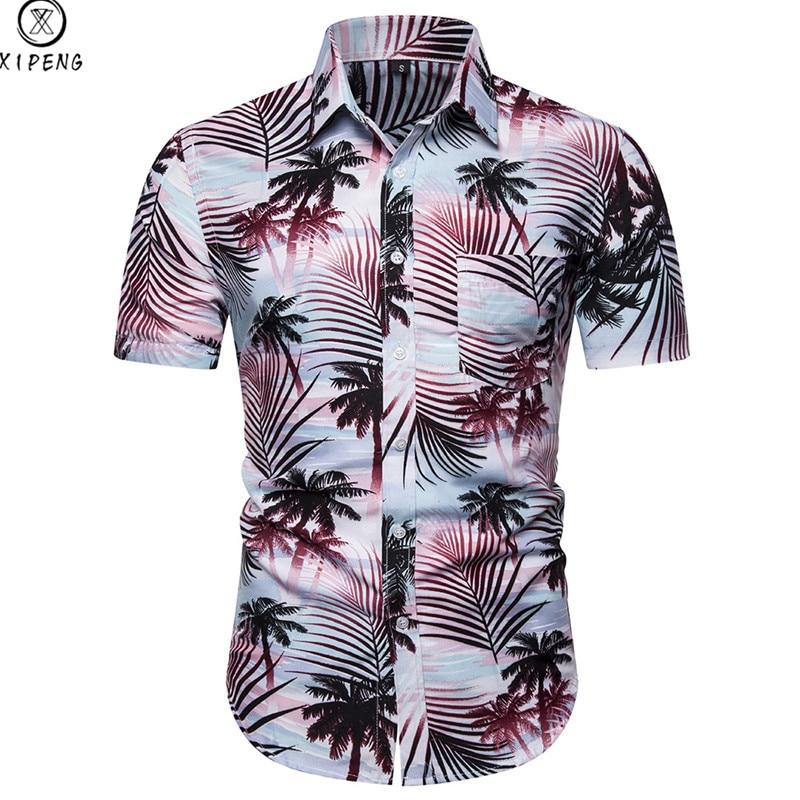 Men Shirt Summer Style Palm Tree Print Beach Hawaiian Shirt Men Casual Short Sleeve Hawaii Shirt Camisa Masculina Asian Size XXL