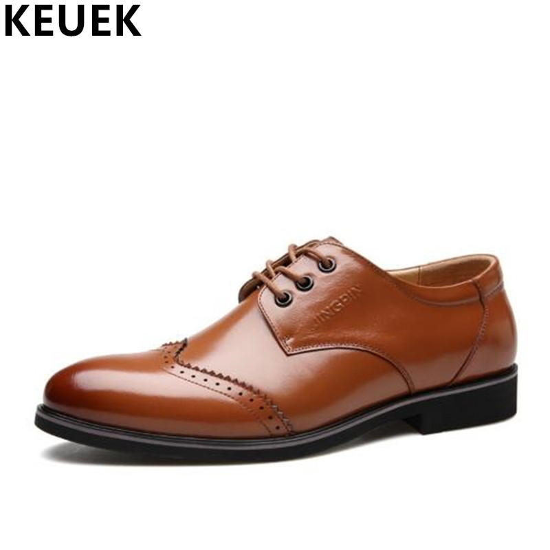 Spring Autumn Men Casual leather shoes Pointed Toe Lace-Up Genuine leather Brogue Shoes Luxury dress shoes Male Flats Oxfords 3A genuine leather men shoes spring casual shoes 2016 autumn leather shoes breathable flat shoe lace up outdoor oxfords wholesale