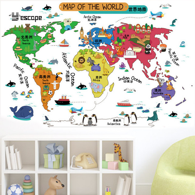 Cartoon Map World Geography Wall Stickers Living Room Child Bedroom ...