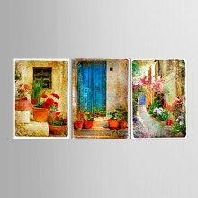 3 pieces Landscape Oil Painting Hang Paintings Modern Street View Picture For Room Decor Pictures Canvas