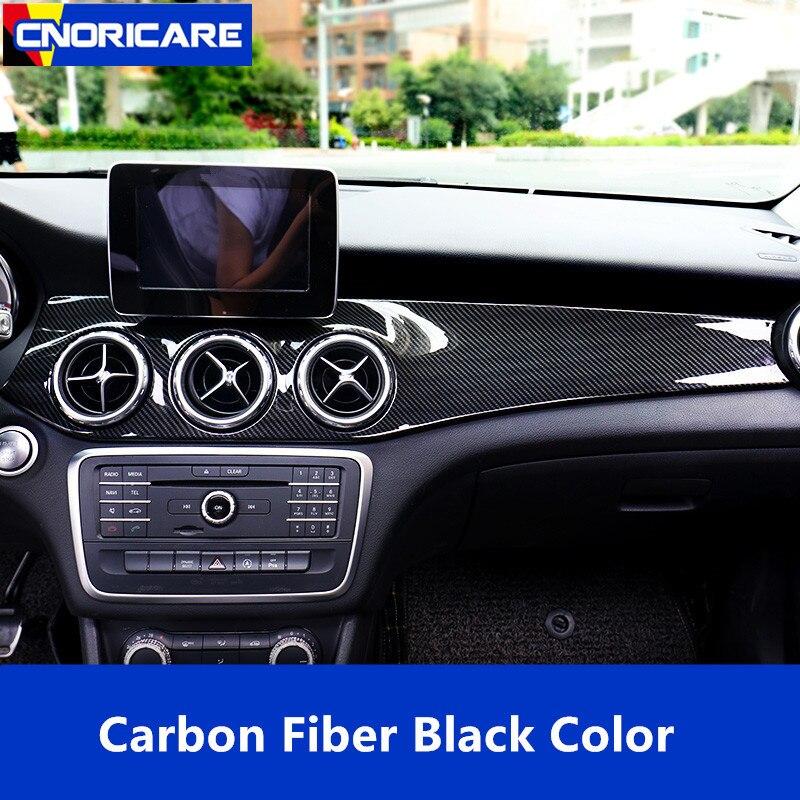 Couverture de décoration de cadre de panneau de climatiseur de Console centrale de Style de Fiber de carbone pour Mercedes Benz GLA X156 CLA C117 2013-18 LHD