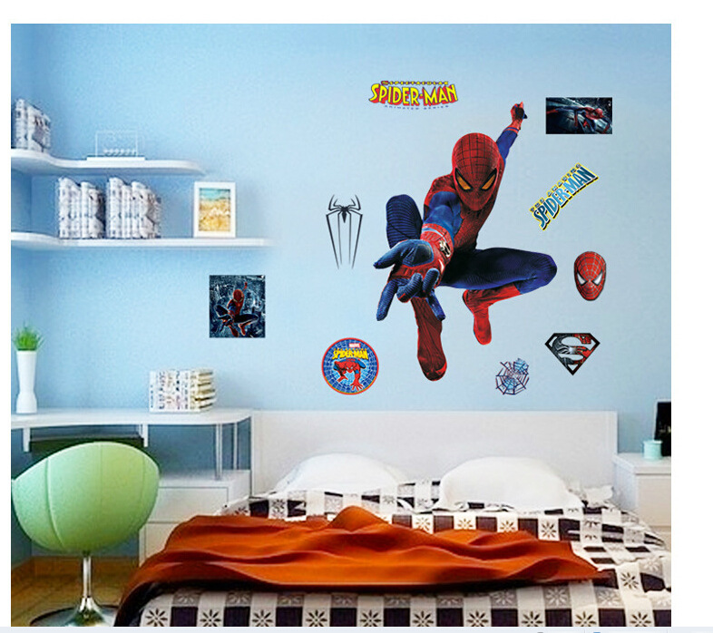 Super Hero Spider Man PVC Wall Stickers Kids Rooms Bedroom Decals Home  Decor Kids Nursery Room DIY Poster Boy Christmas Gift
