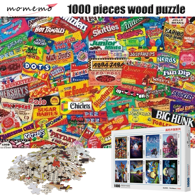 MOMEMO Jigsaw Puzzles Candy Packaging Collection 1000 Pieces Wooden Puzzle For Adults Puzzle Games Toys Children Educational Toy