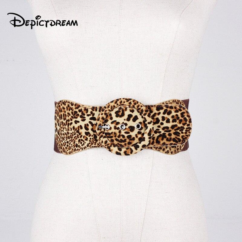 Nueva moda cinturón ancho para mujer dama chica PU de cuero estampado de leopardo patrón gran anillo hebilla de opresión faja