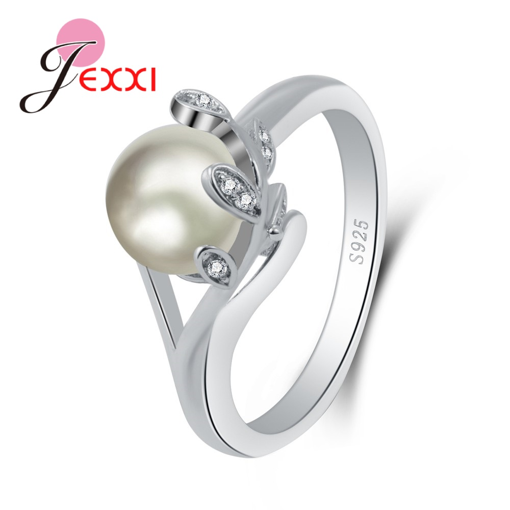 Hot Selling New Great White Pearl Leaves Pure 925 Sterling Silver Fine Rings High Quality Good Look Jewelry Accessory