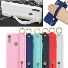 Luxury TPU Shockproof Wrist Strap Case On The For Huawei Y6 Y7 Y9 2019 Soft Cover Honor 8x 9 Lite holder case