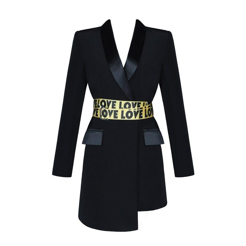 Qualité En Jaune Robe Partie Lettre À Robes Longues Gros Haute Moulante 2019 Ceintures Noir Mode Soirée Femmes Manches De dxBWCroe