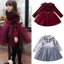 Праздничное платье с цветочным узором для девочек; осенние однотонные