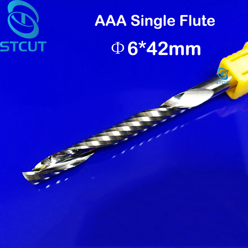 2pcs/lot AAA High Quanlity 6*42mm One Flute End Mill Milling Cutter Spiral Bit CNC Router Tool Single Flute acrylic Wood carving 5pcs 4mm cnc milling cutter one single flute tungsten spiral end mill cnc router bits for acrylic mdf 4 32mm