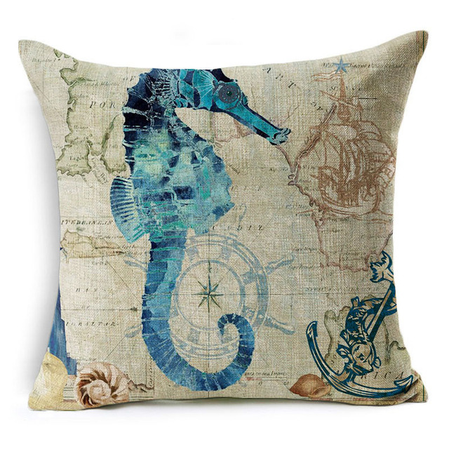 Vintage Style Sea World Cushion Cover 1