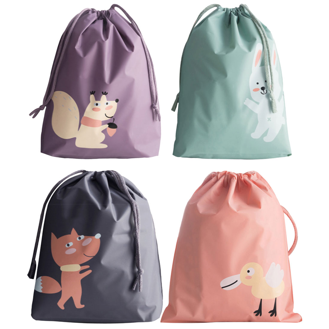 Portable Waterproof Cartoon Travel Pouch Suitcase Shoes Underwear Travel Storage Bag Organizer Clothes Packing Drawstring Bag